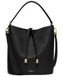 Michael Kors Michl Kors Medium Miranda Leather Bucket Bag Black