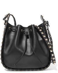 The rockstud bucket leather shoulder bag black medium 1251573