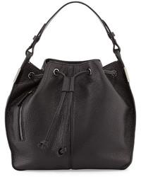 Times Arrow Lida Leather Bucket Bag Black