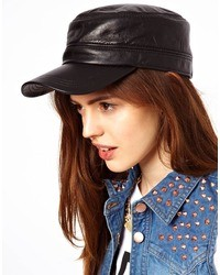 Asos Leather Baker Boy Cap
