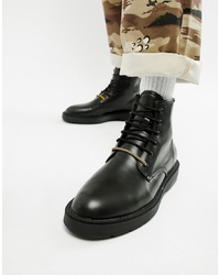 Bershka Chunky Sole Lace Up Boot In Black