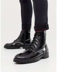 Truffle Collection Zip Detail Lace Up Boot In Black