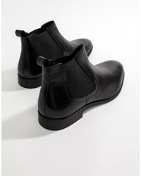 Pier One Chelsea Boots In Black Leather