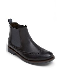 Clarks Garnet Wingtip Chelsea Boot Black Leather 11 M