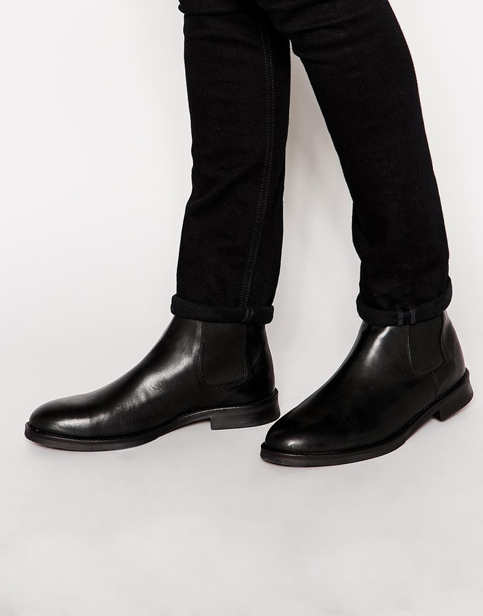 Leather Chelsea Boots - Black Selected XXTrWqdqfg
