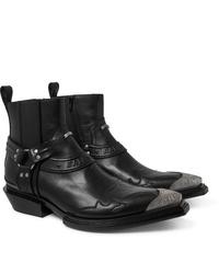 Balenciaga Santiag Embellished Leather Boots