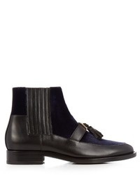 Balmain Theodorade Leather And Velvet Chelsea Boots