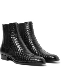 Saint Laurent Wyatt Python And Leather Chelsea Boots