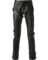 Black Leather Chinos