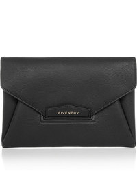 Givenchy Antigona Textured Leather Clutch Black
