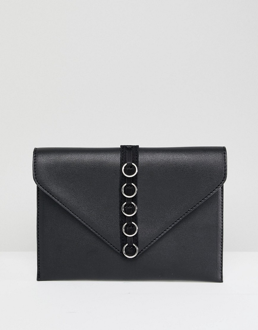 French Connection Envelope Purse With Hardware Detail