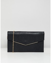 New Look Foldover Clutch Bag In Black