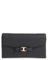 Tory Burch Gemini Leather Clutch On A Chain Grey