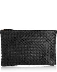 Bottega Veneta Intrecciato Leather Pouch Black
