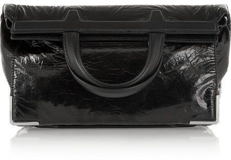 COM › Alexander Wang › Black Leather Clutches Alexander Wang Prisma Coated  Leather Fold Over Clutch ... 2b3ce09d7a171