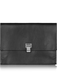 Proenza Schouler The Lunch Bag Large Leather Clutch Black
