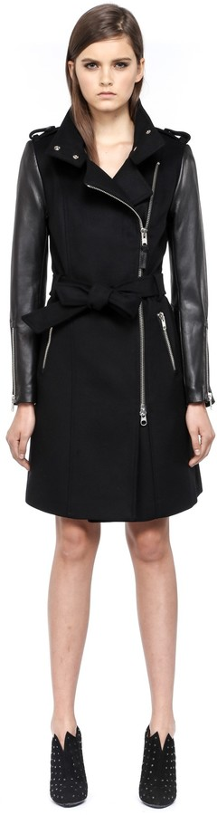 Mackage Dale F4 Long Black Winter Wool Coat With Leather Sleeves ...