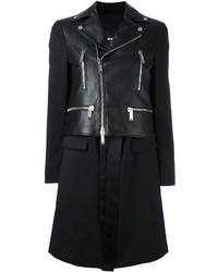 Mixed leather coat medium 1213377