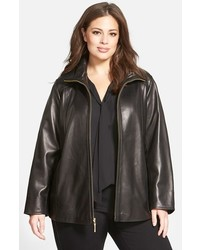 Ellen Tracy Plus Size Leather A Line Coat