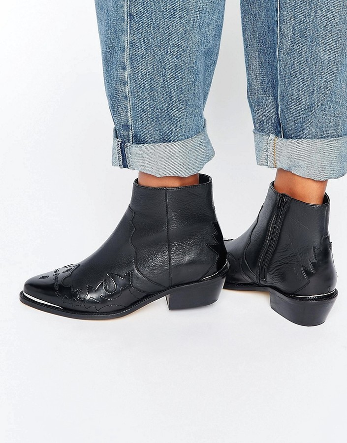 26cc298b57af ... Black Leather Cowboy Boots Asos Artessa Leather Western Ankle Boots ...