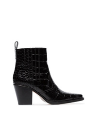 Ganni Black Callie 70 Leather Cowboy Boots