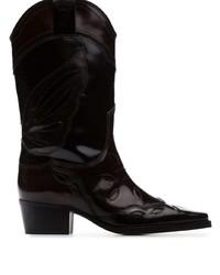 Ganni Black Marlyn 45 Polished Leather Cowboy Boots