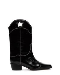 Ganni Black Marlyn 50 Cutout Star Leather Cowboy Boots