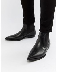 ASOS DESIGN Cuban Heel Western Boots In Black Faux Leather