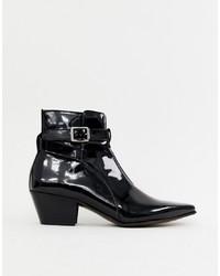 ASOS DESIGN Cuban Heel Western Chelsea Boots In Black Patent