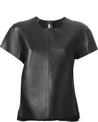 Black Leather Crew-neck T-shirt