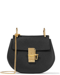 Chloé Drew Mini Textured Leather Shoulder Bag Black