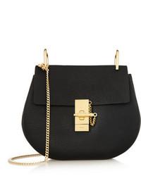 Chloé Drew Small Textured Leather Shoulder Bag Black