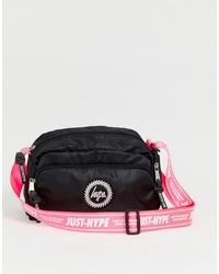 Hype Pink Neon Cross Body Bag In Black
