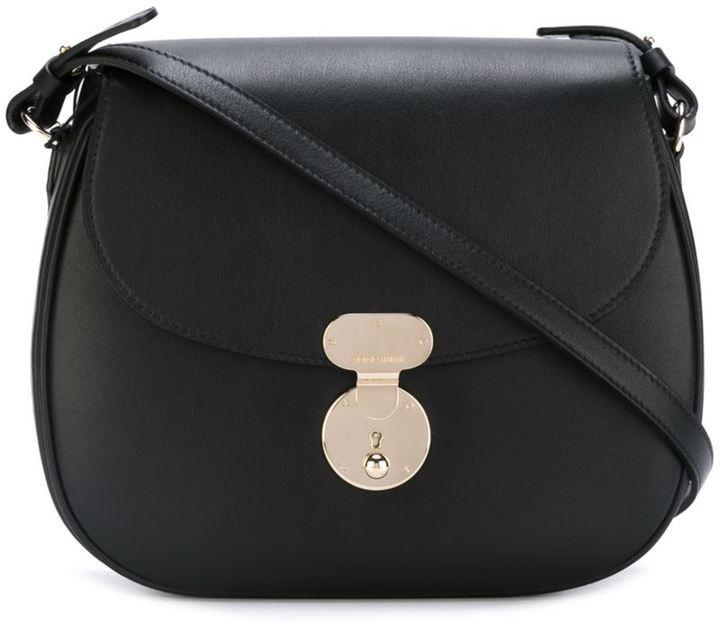 d492b77883 Saddle Sling Crossbody Bag. Black Leather Crossbody Bag by Giorgio Armani