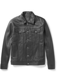 Black Leather Denim Jacket