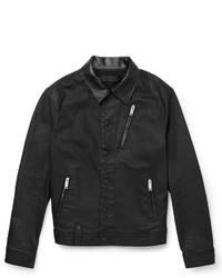 Alexander McQueen Harrington Leather Trimmed Waxed Denim Jacket