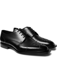 Fendi Logo Embroidered Leather Derby Shoes