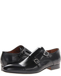 Black Leather Double Monks