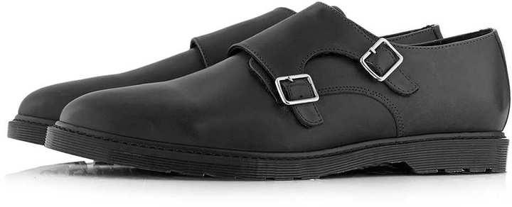 ... Topman Black Leather Monk Shoes