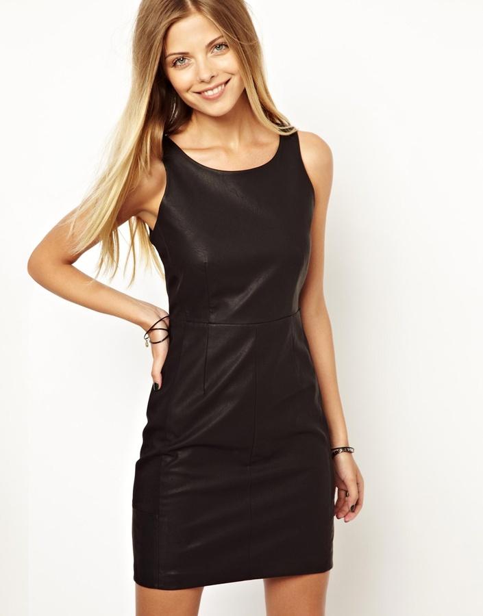 Vero Moda Leather Look Dress Black 80 Asos Lookastic Uk