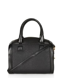 Topshop Double Zip Faux Leather Bag Black