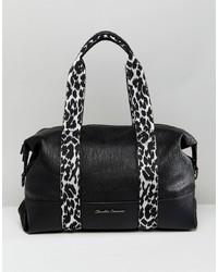 Claudia Canova Soft Shoulder Bag With Zebra Print Webbing Detail