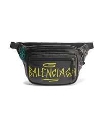Balenciaga Explorer Graffiti Printed Textured Leather Belt Bag