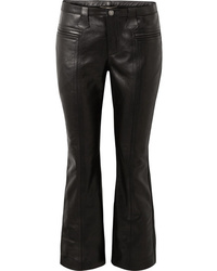 Saint Laurent Cropped Leather Flared Pants