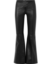 Alexander McQueen Cropped Leather Flared Pants