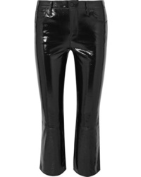 J Brand Selena Cropped Glossed Leather Bootcut Pants
