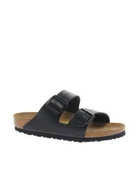 Birkenstock Arizona Black Leather Two Strap Sandals