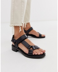 ASOS WHITE Bluebell Leather Sporty Sandals In Black