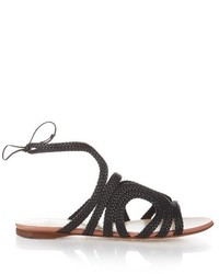 Francesco Russo Braided Leather Flat Sandals