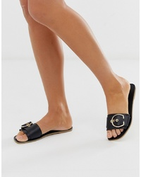 ASOS DESIGN Factual Leather Flat Sandals In Black